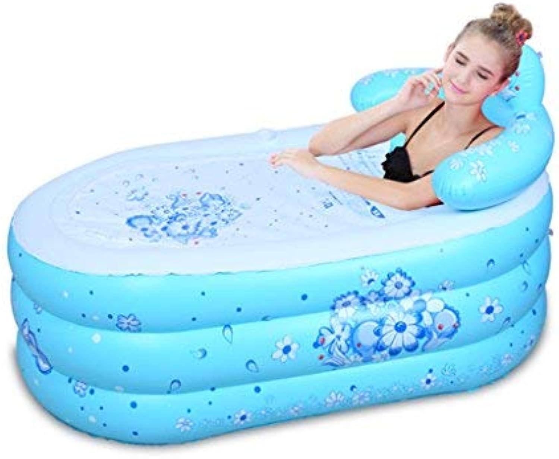ZHAS Bathtub Inflatable Bath Tub Environmental Foldable Household Thick Plastic Bath for Adults Bathtub Simple and Comfortable (Size  bluee 130  75cm)