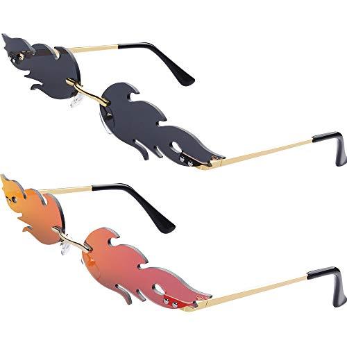 Haichen Occhiali da sole alla moda 2 paia alla moda occhiali da sole senza montatura a specchio con specchio a forma di fiamma per uomo donna (Nero + Rosso)