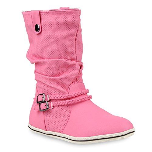 Bequeme Damen Stiefel Schlupfstiefel Lochungen Flache Boots Leder-Optik Metallic Schuhe 113535 Pink...