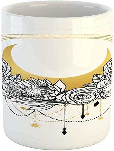 Boho Tasse, blühende Umrisse, Zeichnungen von Blumen mit Halbmond, mystischer Stil, Keramik-Kaffeebecher für Wasser, Tee, Getränke, 325 ml, Senfanthrazit