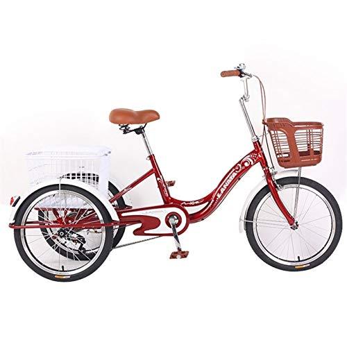 SN Triciclo para Adultos Bicicleta Trike 20 Pulgadas Velocidad Única Bicicleta 3 Ruedas para Adultos Personas Mayores Hombres Mujeres con Cesta De Gran Tamaño (Color : Red)