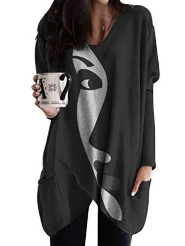 Minetom Camisa De Manga Larga Mujer Cuello En V Estampado Tops Sueltos Sudaderas Largas Tops Suéteres con Dobladillo Asimétrico con Bolsillos A Negro 4XL