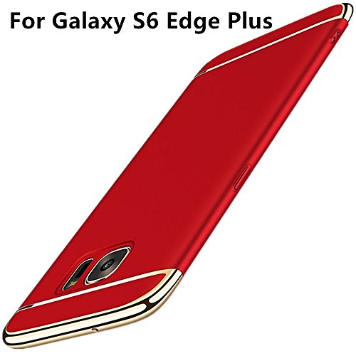 Alsoar Compatibile/sostituzione per Galaxy S6 Edge Plus Cover, 3 in 1 Ultra-thin 360 Full Body Ultra-thin Anti-Scratch Shockproof Hard PC Non-Slip Skin Smooth Case with Electroplate Bumper (Rosso)