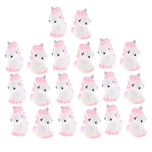 VANKOA Lot de 20 mini figurines licornes en résine pour décoration de gâteau, fête prénatale, fête d'anniversaire, bureau Rose