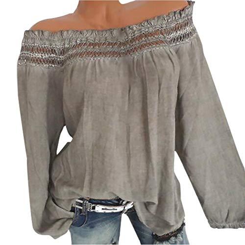 KaloryWee 2020 Damen Frauen Plus Größe V-Ausschnitt Taste Langarm Brief Bluse Pullover Tops...