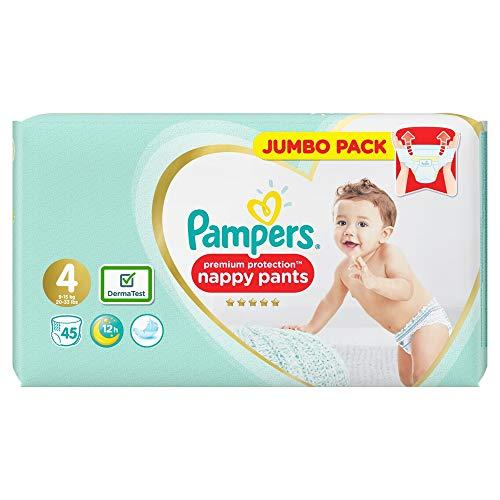 Pampers Premium Protection Active Fit Windelhose, Größe 4, 45 Windelhöschen, 9-15 kg, weichste Windelhose, leicht anzuziehen