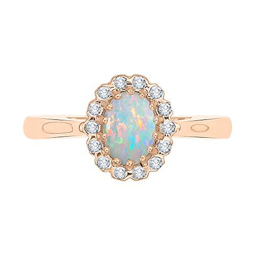 KATARINA Anillo de compromiso con halo de ópalo de talla ovalada y diamantes en oro de 14 k (1/2 quilt, G-H, I2-I3)