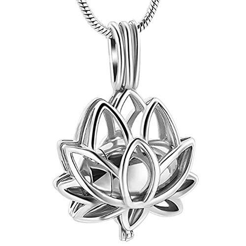 Canghai Collar de cenizas de loto, collar de urna de acero inoxidable, colgante de joyería de recuerdo de cremación, recuerdo de cenizas conmemorativas (plata)