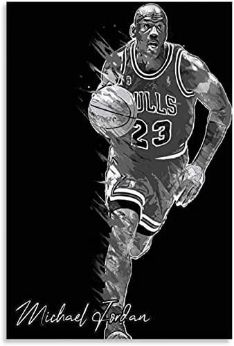 BOYLUCK Lienzo Pintura Al óLeo Michaels Jordans Bnw Carácter e Imagen Modernos para la decoración de la Sala de Estar Poster Y Estampados Arte Cuadros 15.7'x23.6'(40x60cm) Sin Marco