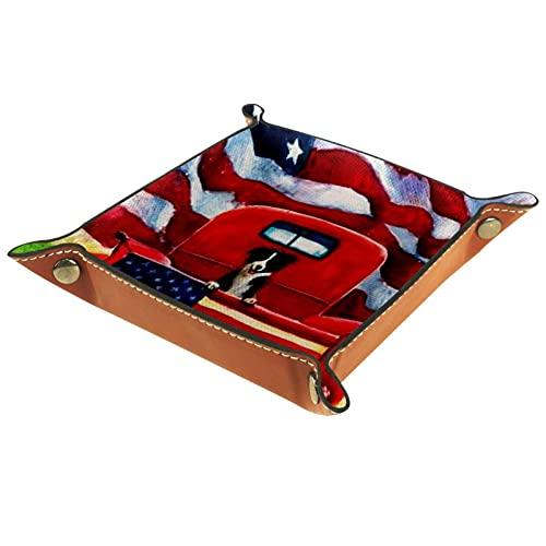 Organizador de canastas de cuero Granja rústica vieja camión rojo patio de casa para la mesa de estar del escritorio del tocador