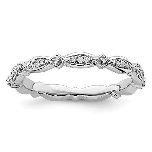 Plata esterlina expresiones apilables anillo de diamantes en bruto - Tamaño R 1/2 - JewelryWeb
