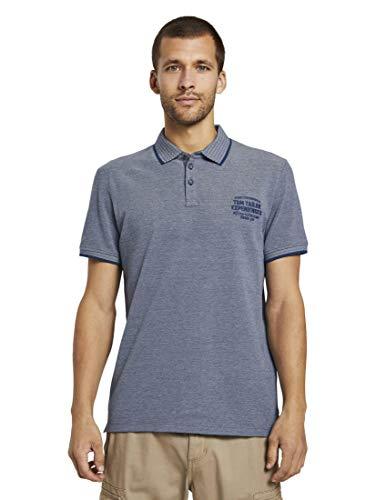 TOM TAILOR Herren Poloshirts Zweifarbiges Poloshirt mit Kleiner Stickerei Blue Twotone Structure,XXL