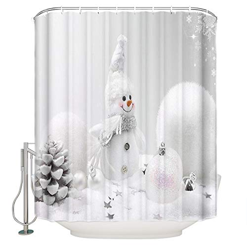 Prime Leader Snowman Christmas Shower Curtain, White Snowman and White Christmas Ball Decoration in The Snow, Fabric Bathroom Decor with Hooks, 66 x 72 Inches