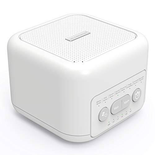 Portable White Noise Sound Machine for Sleeping, Baby, Kids, Adult & Office Privacy, Travel SoothingBox with 72-Hour Playtime, Auto-Off Timer, 8 Therapy Soothing Sounds, 3.5mm Headphone Jack - White
