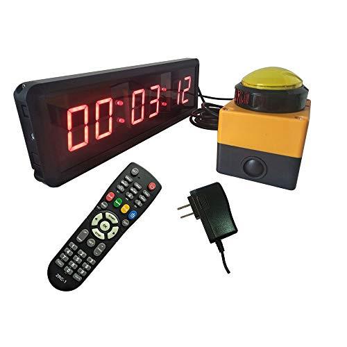 Huangjiahao Gym Timer 1.8 Inch 6 Digit LED Interval Timer Stopwatch met Draadloze Afstandsbediening en Knop Schakelaar Countdown Up Klok voor Sportclubs Scholen
