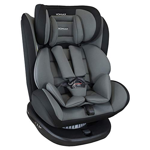 XOMAX 916 Kindersitz drehbar 360° mit ISOFIX und Liegefunktion I mitwachsend I 0-36 kg, 0-12 Jahre, Gruppe 0/1/2/3 I 5-Punkt-Gurt und 3-Punkt-Gurt I Bezug abnehmbar, waschbar I ECE R44/04