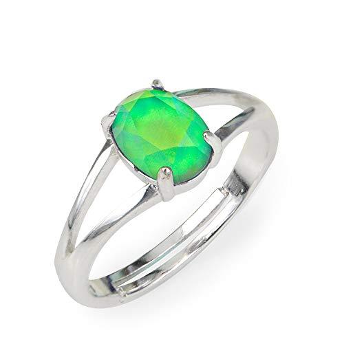 Fun Jewels - Anillo del humor plateado - Gema de cristal de talla oval con varias caras - estilo minimalista - Latón - Multicolor
