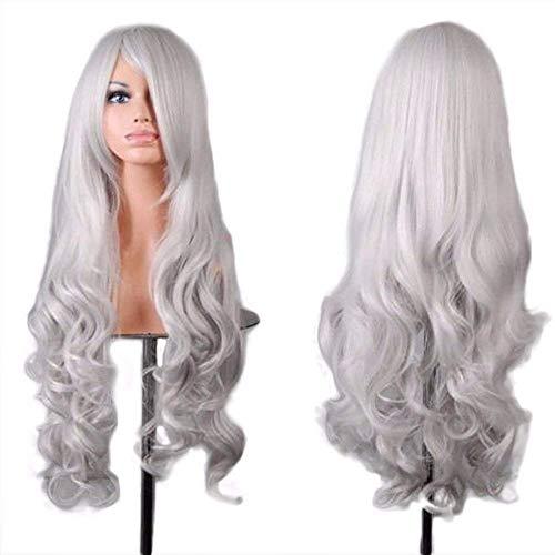 Fouriding 31.5'/80cm Parrucche Cospaly Donna Lungo Ricci Capelli ondulata Lunghi Lolita Anime di Bangs Completa Sexy Parrucca (Bianco argento)