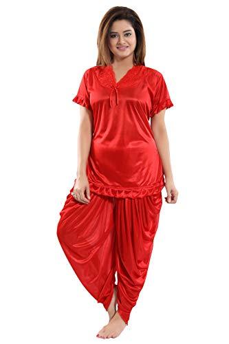 Fashigo Women's Patiala Top and Pyjama Set (Red,Free Size)