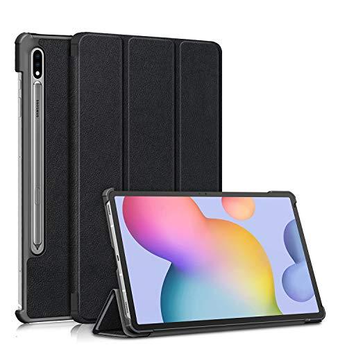 Tmore - Funda para Samsung Galaxy Tab S7 de 11 pulgadas (SM-T870/SM-T875), ultrafina, con función atril y despertador, color negro