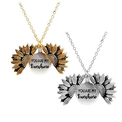 Sloong You are My Sunshine Inspiring Engraved Necklace Memorial hidden message Sunflower Locket Necklace (Set Sunflower)