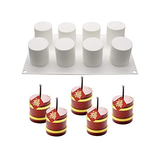xiaoshenlu Molde Chocolate, moldes Silicona 3D para postres pudín Chocolate, 8 cavidades Forma de Cilindro Alto