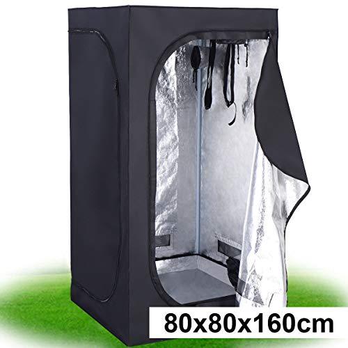 COSTWAY Growbox Darkroom Growzelt Grow Tent Zuchtschrank Pflanzenzucht Gewächszelt (80x80x160 cm)