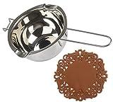 Tspkey - Crogiolo universale, in acciaio inox 18/8, inserto per doppio bollitore, doppio beccuccio, manico resistente al calore, fondo piatto, per fondere cioccolato, burro, formaggio, caramello