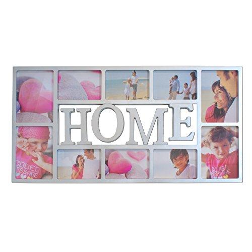 Smartfox Bilderrahmen Fotorahmen Collage für 10 Bilder im Format 6 Fotos 10x15 cm und 4 Fotos 13x18 cm in Weiß Motiv: Home