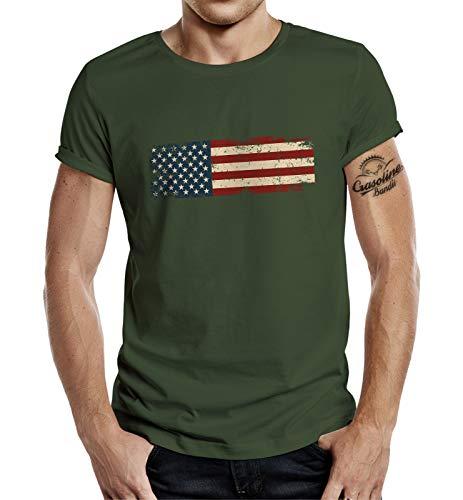 Gasoline Bandit Styletex23 - Camiseta, diseño de bandera de Estados Unidos verde oliva XL