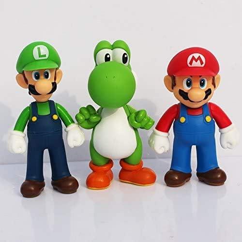 GRIKAI Super Mario Bros Action Figures Toy Overseas parallel At the price import regular item Pcs 5'' 3 Mari of Set
