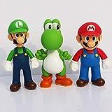 GRIKAI Super Mario Bros Action Figures Toy Set of 3 Pcs 5'' Mario Luigi Yoshi Garage Kit Character Model