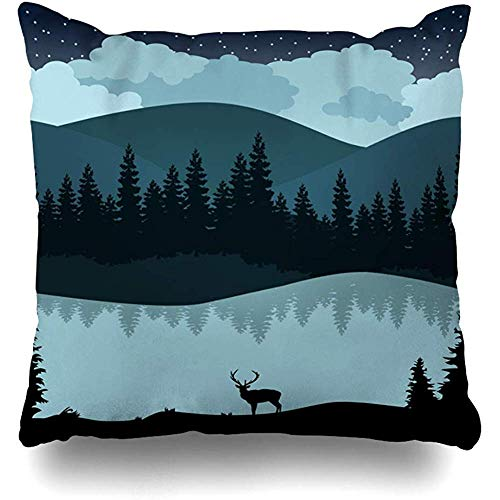 Hangdachang Lake Green Wildlife Forest Deer Wild Mountain Safari Natural Skyline Decorative Square Throw Pillow Covers Colorful Throw Pillows Pillowcases 18 X 18 Inch