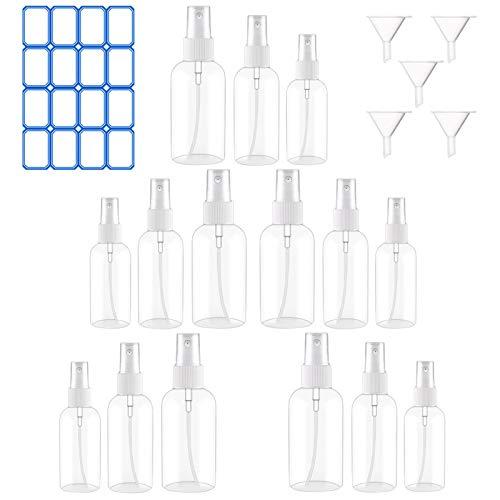 Botes Spray vacios 15 Piezas,Set de Botella de Spray de Viaje,Botes Spray vacios con Embudos,Atomizador portátil Transparente Recargables para Perfume cosmético,Medicina,Aceite Esencial