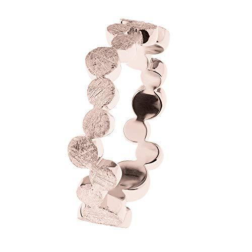 Ernstes Design Anillo R583 Evia de acero inoxidable chapado en oro rojo 6 mm para mujer