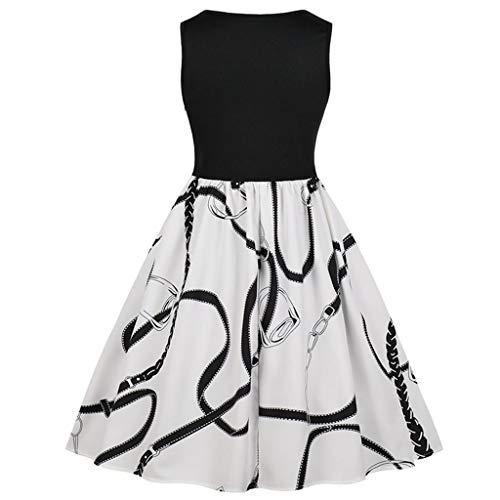 Frauen Ärmellos Druck Cocktailkleid Kurz,Patchwork Vintage Abendkleider Damen Elegant Rockabilly Kleid,Partykleider-Swing Kleid Schöne Festliche Kleider URIBAKY