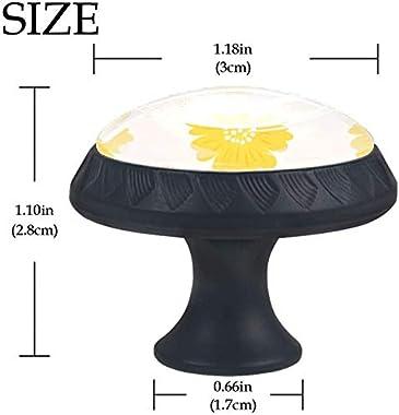 "Round Cabinet Hardware Knob (4 Pack) - Yellow Orange Floral Pattern Warm - 1-37/100"" Diameter - knobs for Dresser Drawers"
