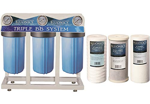 """Bluonics Whole House Water Filter for City & Well Water 3 Stage Home Water Filtration System with Big Blue 4.5"""" x 10"""" Sediment and Carbon Filters with Pressure Gauges, 1 Inch Inlet Outlet Connections"""