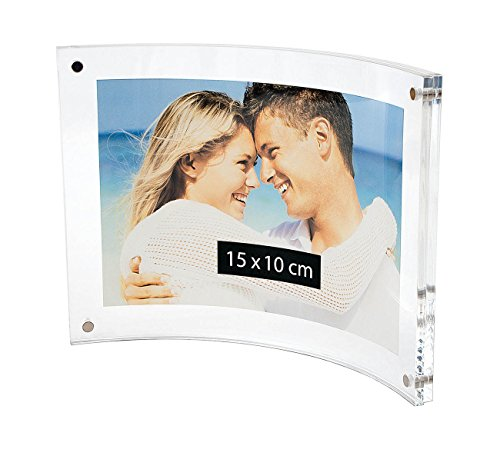 Wedo 601516 Acryl Fotorahmen (Cristallic, mit Magnetverschluss, Querformat gebogen) glasklar