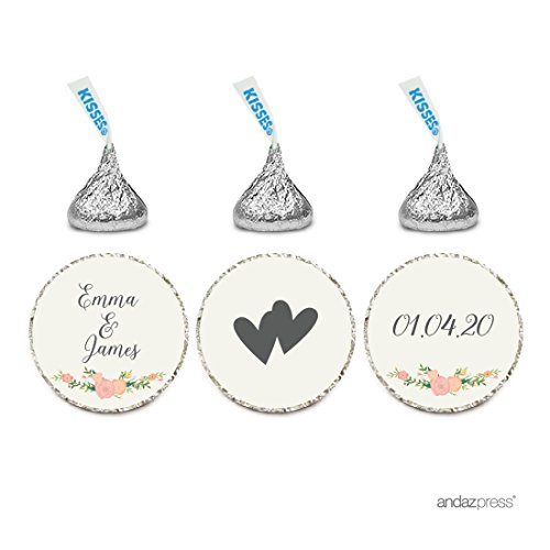 Andaz Press Personalized Wedding Chocolate Drop Label Stickers, Interlocking Double Hearts, Floral Roses, 216-Pack, For Engagement Bridal Shower Hershey's Kisses Party Favors