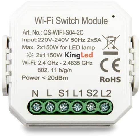 Kingled - Smart Home - Smart Home Automation - Dispositivos WiFi compatibles con Alexa, Google Home y Smartphone (Interruptor de 2 canales)