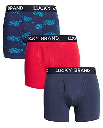 Lucky Brand Mens 3 Pack Cotton Stretch Boxer Briefs Small Dress Blue/Red