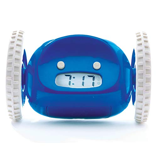 Clocky Alarm Clock on Wheels (Original) | Extra Loud for Heavy Sleeper (Adult or Kid Bed-Room Robot Clockie) Funny, Rolling, Run-Away, Moving, Jumping (Navy)