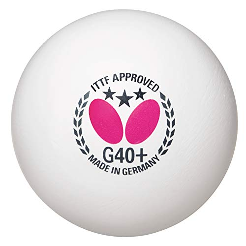 Butterfly G40+ 3-Star Poly Table Tennis Balls-12pk-White-ITTF Approved