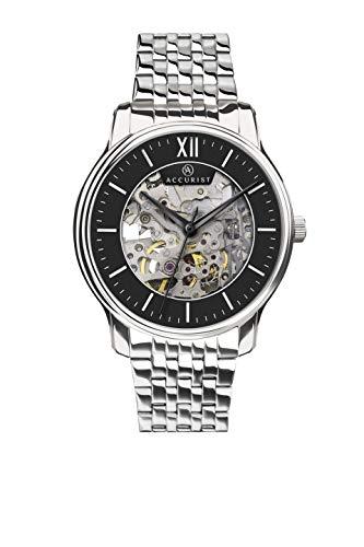 Nauwkeurige Heren Japanse Quartz Roestvrij Staal Automatische Mechanische Skeleton Horloge Met Exhibition Back, Drukknopsluiting, Mineral Glas, 50m Waterbestendig, 2 jaar garantie.