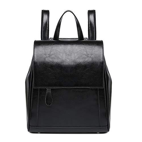 Yucong Mujer Moda Mochila - Crossbody Bag - Bolso de Hombro de Cuero Genuino Bolso de Mensajero,Casual Bolsa de Viaje Backpack (Negro)