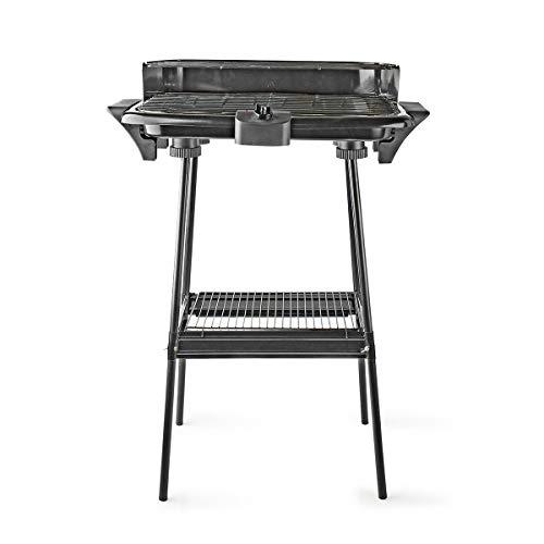 Nedis Elektro BBQ Elektrischer Grill - Rechteckig - Inklusive Ständer - 46 x 28 cm - 2000 W - Thermostat - Wasserbad aus Aluminium - Metall - Schwarz - Schutzkontakt/Typ F (CEE 7/7) Schwarz 0.90 m