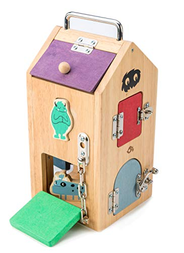 """Tender Leaf Toys Wooden Monster Lock Box - 8 Different Doors with Various Lock Mechanisms Helps Develop Probelm Solving Skills - 3 +, Multicolor, 6.5"""" x 6.7"""" x 11.7"""""""
