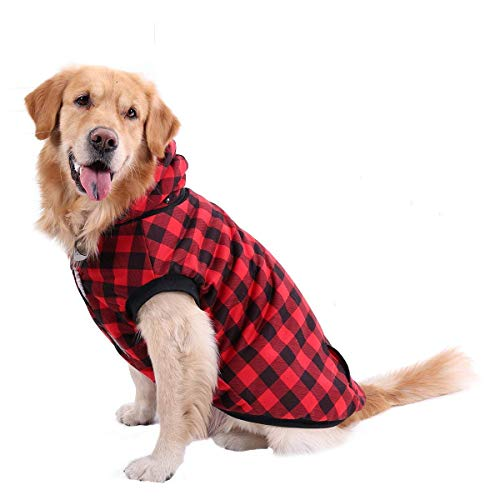 PAWZ Road Dog Plaid Shirt Coat Hoodie Pet Winter Clothes Warm and Soft for Medium and Large Dog Red 2XL