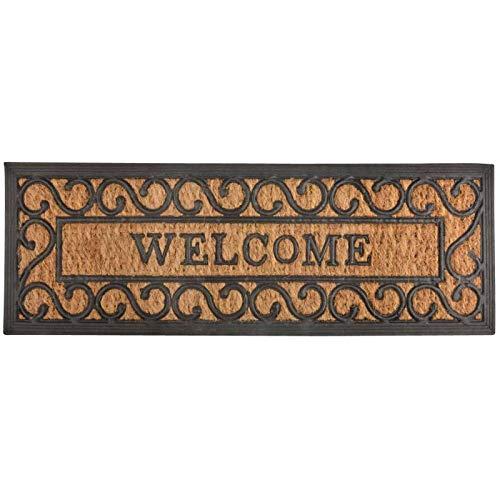 L'Héritier Du Temps Tapis Gratte Pieds de Forme Rectangulaire ou Paillasson Motifs Volutes Inscription Welcome en Coco et Caoutchouc 1x25x75cm